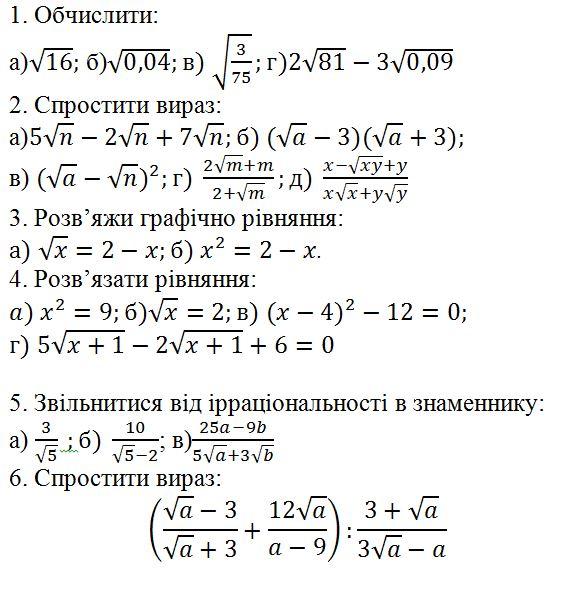 8 клас к.р. 4 властивості арифметичного квадратного кореня